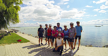 Group photo on the Lake Balaton Bike Tour in Hungary.