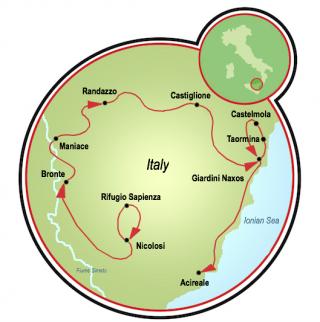 Sicily: Mt Etna, Taormina, and the Ionian Sea Map