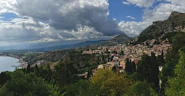 Taormina and Castelmola in Sicily, Italy. Photo via Wikimedia Commons:pjt56