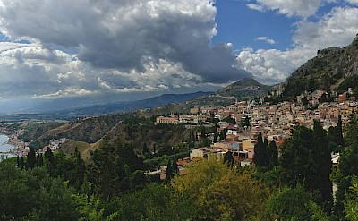 Taormina and Castelmola in Sicily, Italy. Photo via Wikimedia Commons:pjt56