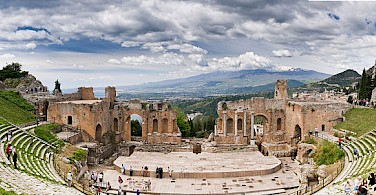 Ancient Greek Theatre in Taormina, Sicily, Italy. Photo via Wikimedia Commons:Bart Hiddink