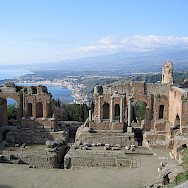 Ruins of the Greek Theatre overlooking the Sea in Taormina, Sicily, Italy. Wikimedia Commons:Evan Erickson CC0