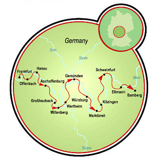 Frankfurt to Bamberg or Bamberg to Frankfurt Map