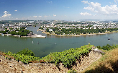 Mosel and Rhine Rivers meet in Koblenz, Germany. Flickr:Anrew Gustar