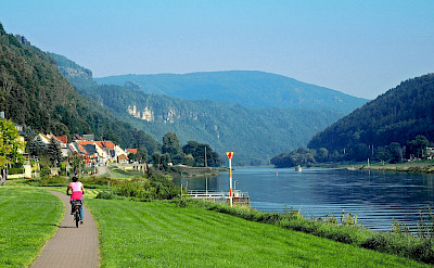 Bike path along the river in Bad Schandau, Germany. Flickr:Klaus