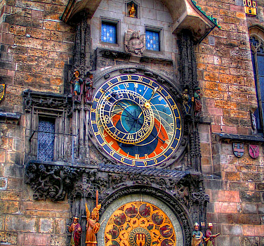 Astronomical Clock in Old Town Square in Prague, Czech Republic. Photo via Flickr:Traveltipy