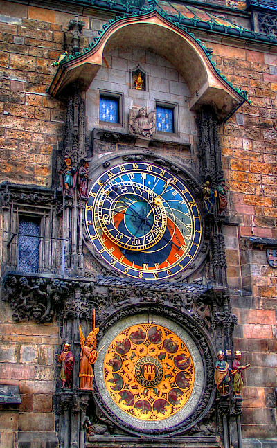 Astronomical Clock in Old Town Square in Prague, Czech Republic. Flickr:Traveltipy
