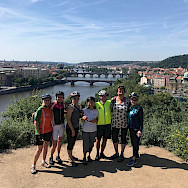 Hennie and her friends biking Prague to Dresden Spring 2019. View of Prague.