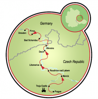 Prague to Dresden - A Tale of Two Rivers Map