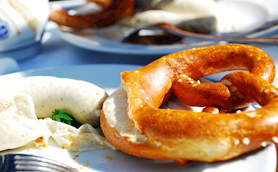 White sausages and pretzels are favorites in Bavaria, Germany. Flickr:Wang Hah