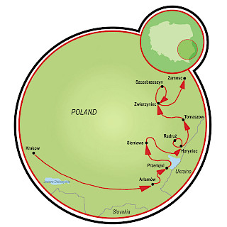 Krakow and Southeast Poland Map