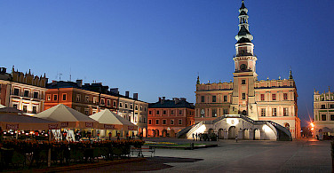 Zamosc at night. Photo via Flickr:PolandMFA