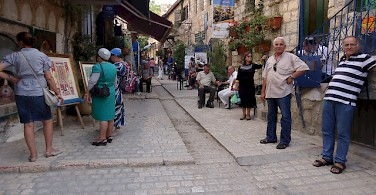 Locals in Tzfat. Photo via Flickr:joshuapiano