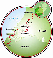 Amsterdam to Bruges Bike Tour Map