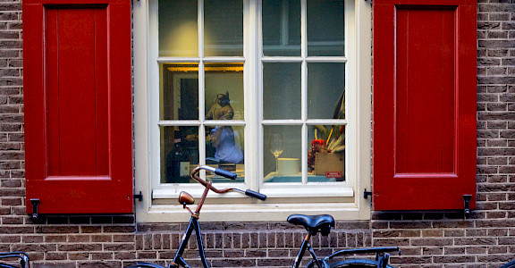 Vermeer painting in Amsterdam window. Province North Holland, the Netherlands. Photo via Flickr:Francesca Cappa