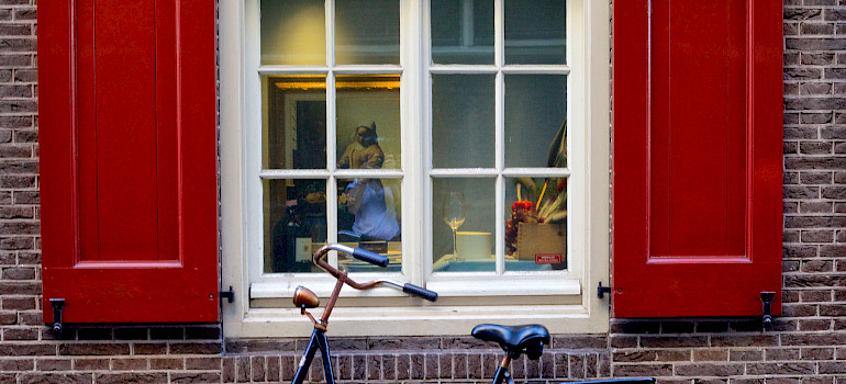 Vermeer painting in Amsterdam window. Biking in the Netherlands. Photo via Flickr:Francesca Cappa