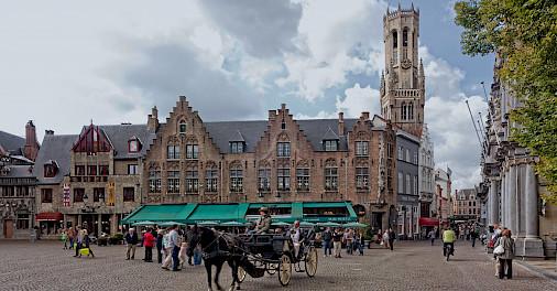 Famous square with Belfort Tower in Bruges, West Flanders, Belgium. ©Hollandfotograaf