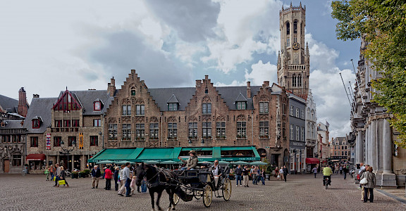 Famous square with Belfort Tower in Bruges, West Flanders, Belgium. ©Hollandfotograaf