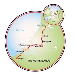 Bruges to Amsterdam Bike Tour Map
