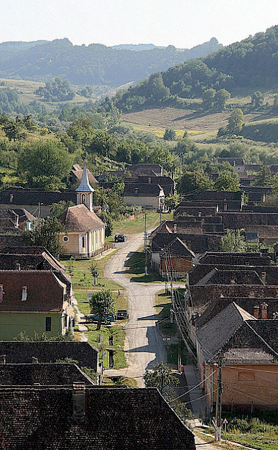 View from the tower in Copsa Mare, Romania. Photo via Flickr:Guillaume Baviere