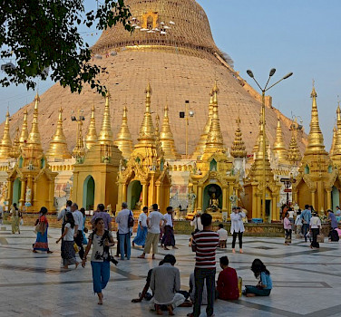 Morning at Shwedagon Pagoda, Myanmar. Photo by Tim Manning