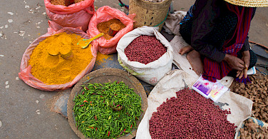 Market Day spices in Kalaw, Myanmar. Photo via Flickr:Shaun Dunphy