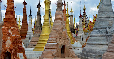 Nampan pagodas near the south end of Inle Lake, Myanmar. Photo by Tim Manning