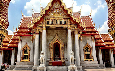Marble temple in Bangkok, Thailand. Photo via Flickr:Karl Baron