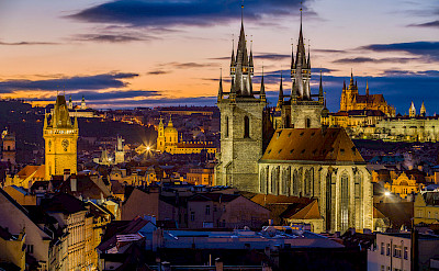 Sunset view from Powder Tower in Prague, Czech Republic. CC:Jiuguang Wang