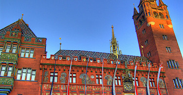 The gorgeous famous Rathaus in Basel, Switzerland. Photo via Flickr:twicepix