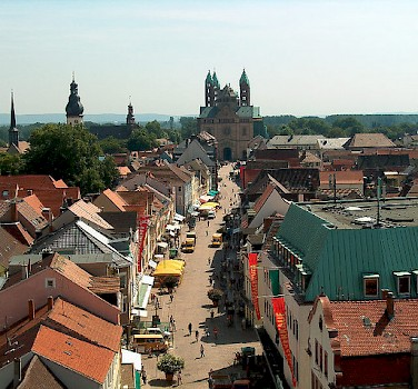Main street in Speyer with Cathedral in the background. Photo via Flickr:Daniel Sancho