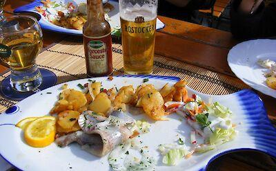 Traditional seafood lunch in Stralsund, Germany. Flickr:sludgeg