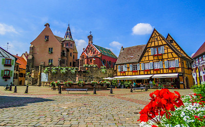 Cozy square in Eguisheim, known for its great Alsatian wines, Alsace, France. Flickr:Kiefer
