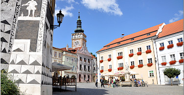 Main square in Mikulov, the South Moravian Region in the Czech Republic. Photo via Flickr:Janos Korom Dr