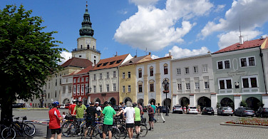 Bike stop in Mikulov's main square, the South Moravian Region in the Czech Republic.