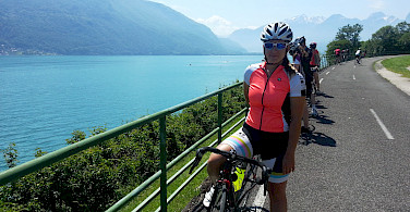 Cycling along Lake Annecy, France.