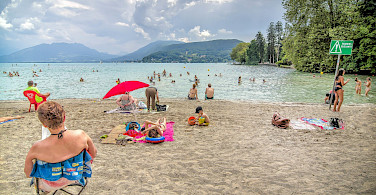 From bike to beach at Lake Annecy in Haute Savoie, France. Flickr:Jean Balczesak