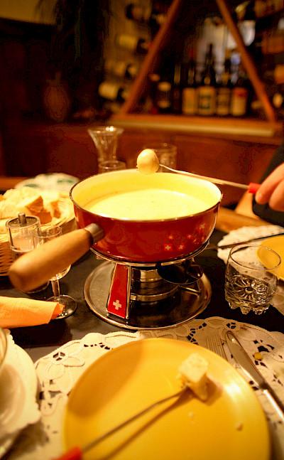 Cheese fondue, a favorite in Switzerland! Flickr:Ashley Deason
