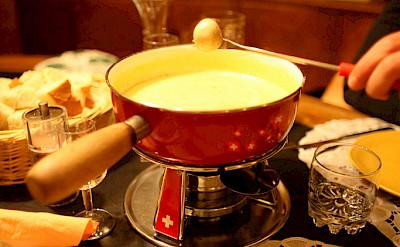 Cheese fondue is a Swiss favorite! Flickr:Ashley Deason
