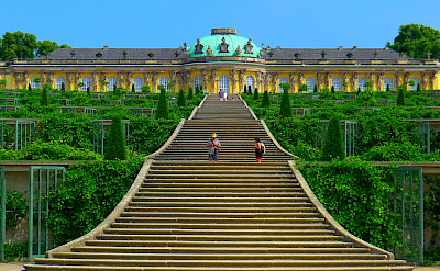 The famous Schloss Sanssouci in the Rococo style in Potsdam, Germany. CC:Mbzt