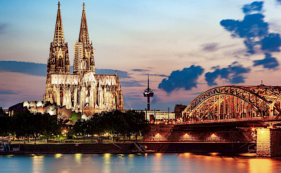 Hohenzollern Bridge & Cathedral in Cologne over the Rhine River in Germany. Flickr:Jiuguang Wang