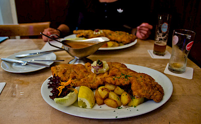 Veal schnitzel is the best in Germany! Flickr:Flowizm