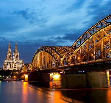 Cologne along the Rhine River with the famous Cathedral in the background. Photo via Flickr:Anja Pietsch