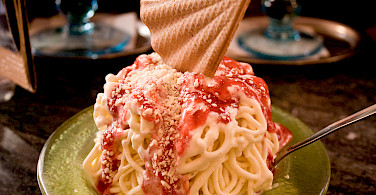 Spaghetti ice cream in Trier, Germany. Photo via Flickr:Christian Cable