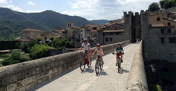 Mountain biking with the kids in Besalu, Catalonia, Spain. ©TO