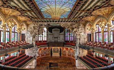 Palace of Catalan Music in Barcelona, Catalonia, Spain. Photo by Hied Duc Tram