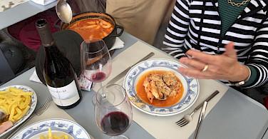 Enjoying a delicious Portuguese lunch. Photo by Jan van den Hengel