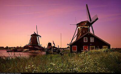 Sunset at the Zaanse Schans near Zaandam, the Netherlands. Flickr:Moyan Brenn