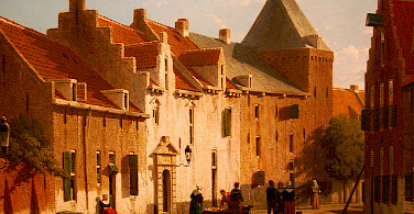 "Painting by Jan Weissenbruch showing the ""Muurhuizen"" (wallhouses built on top of the city's first wall) in Amersfoort, Holland."