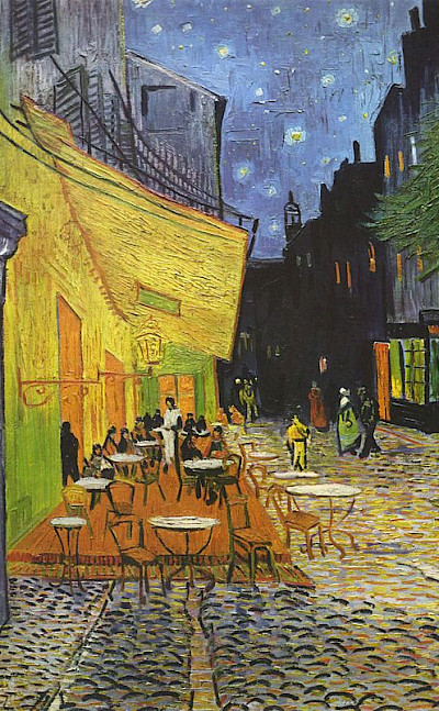 Café Terrace at Night by Vincent Van Gogh is housed in the Kröller-Müller Museum in Otterlo, Netherlands.